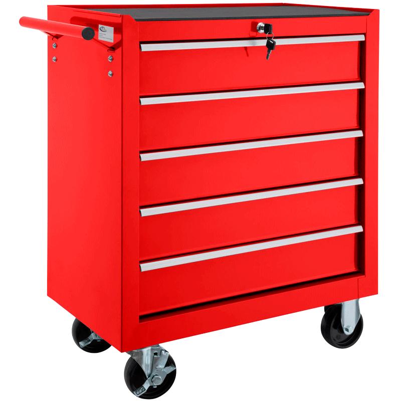 Carro de herramientas con 5 cajones rojo